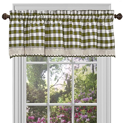Achim Home Furnishings Buffalo Check Valance, 58-Inch by 14-Inch, Sage