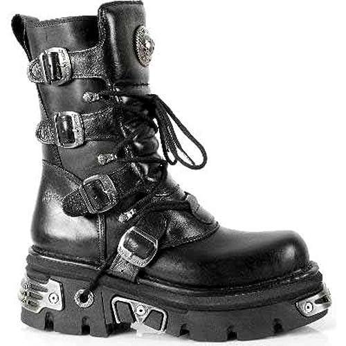 1d28332b737 Newrock New Rock 373-S4 Botas Metalizadas Negro Cuero Goth Biker EMO Moda:  Amazon.es: Zapatos y complementos