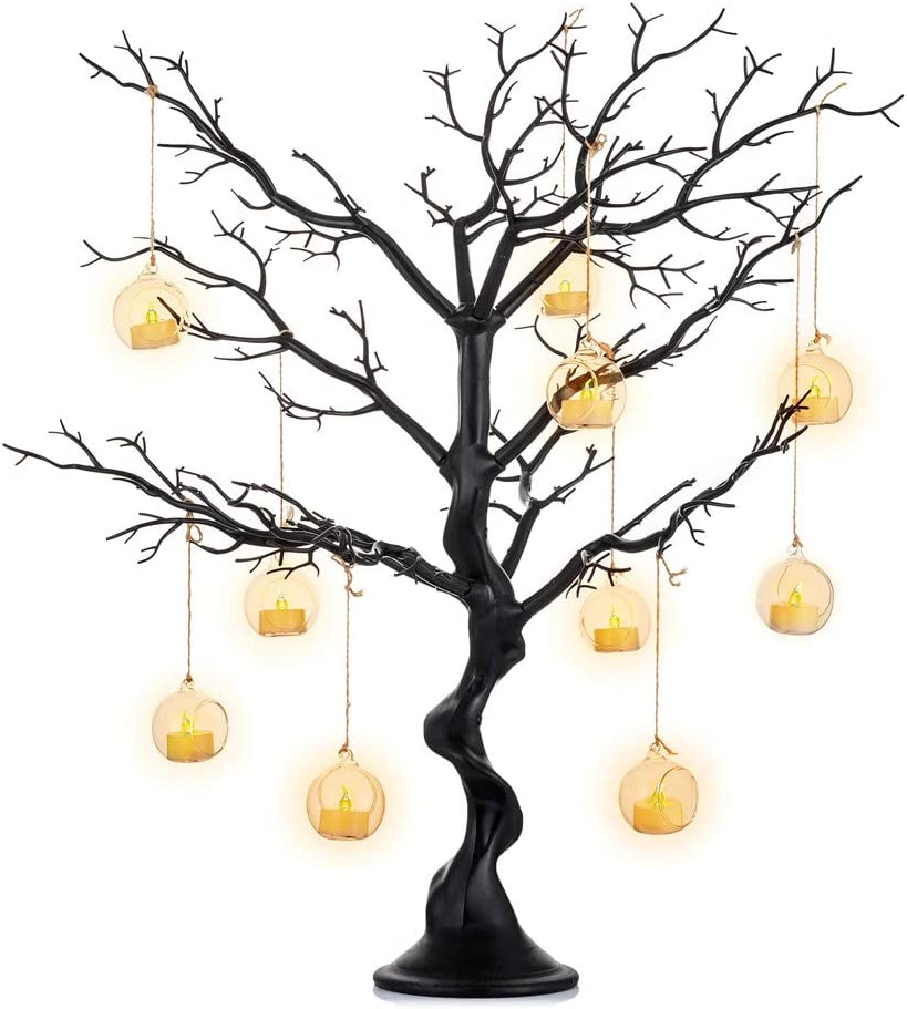Sziqiqi Black Artificial Tree for Tree Centerpiece for Weddings Christmas Birthday Party Home Indoor Outdoor Decoration 30 inches