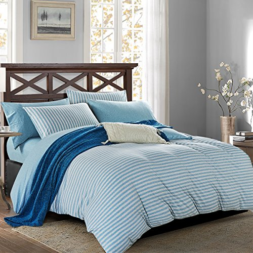 PURE ERA Striped Duvet Cover Set Jersey Knit Cotton Ultra Soft Comfy Breathable Zippered 3 PCs Home Bedding Sets 1 Duvet Cover and 2 Pillow Shams Mint Green Queen