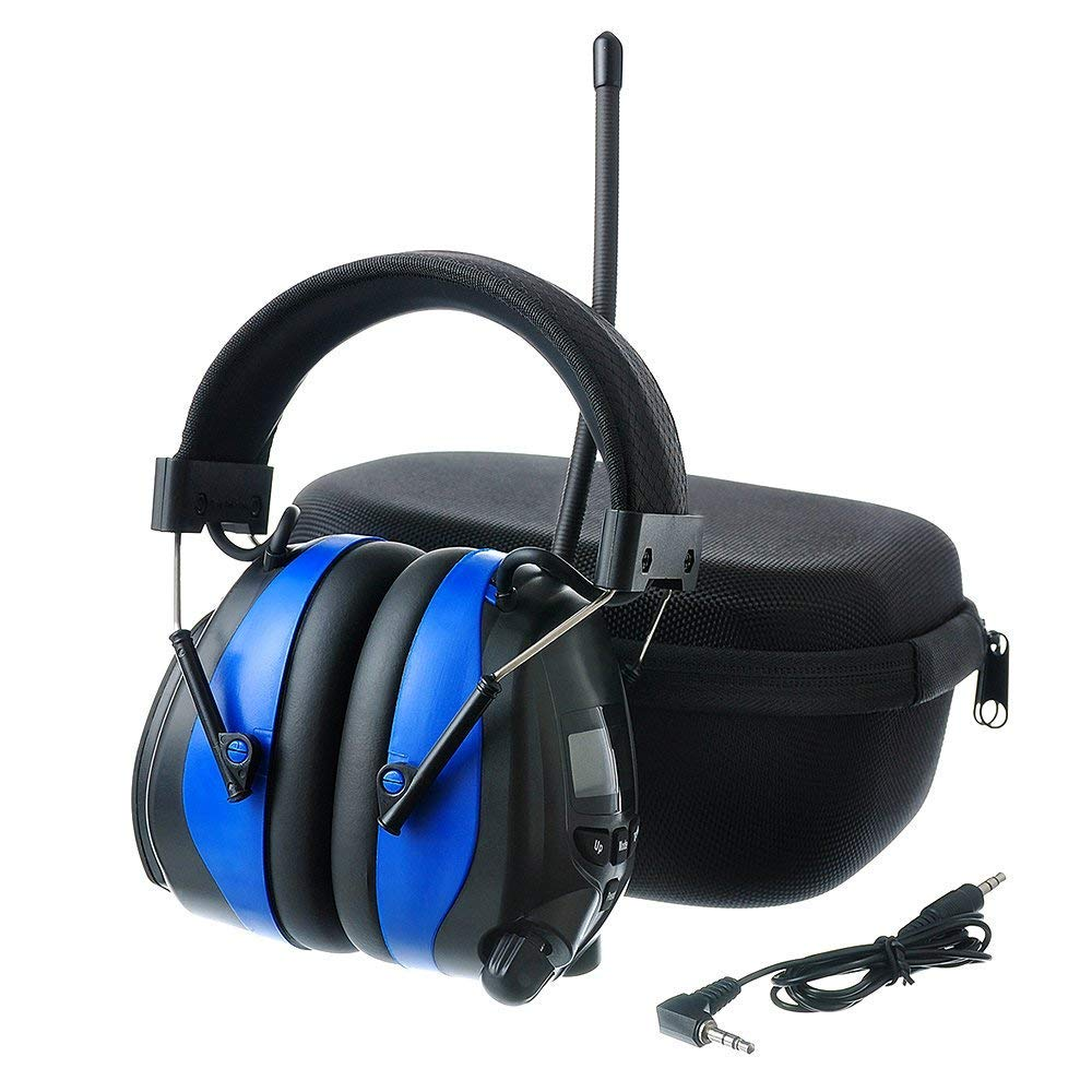 PROTEAR Bluetooth Noise Reduction Wireless Earmuffs AM FM Digital Radio with Rechargeable Lithium Battery, NRR 25dB Professional Ear Hearing Protection Electronic Headphones with a Carrying Case