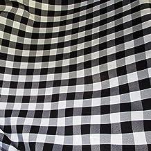 "25 Yard Bolt - BLACK/WHITE 60"" Wide Poly Poplin 1-inch Checkered Fabric"