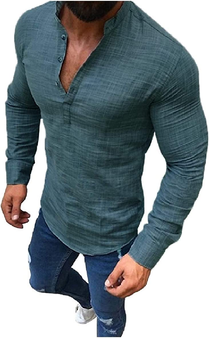 Tootless-Men Plus Size Button Stand Collar Solid Long Sleeve Tees Top Shirts