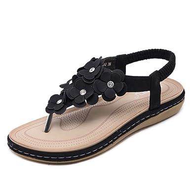 e5c25cda6 Women Summer Flat Sandals 🍓 Crystal Fashion Buckle Beach Roman Sandals  Bohemian T
