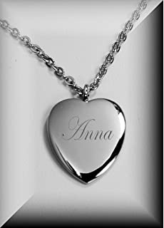 Amazon sterling silver engraved heart necklace 14 inches personalized silver elegant heart necklace pendant engraved free aloadofball Gallery