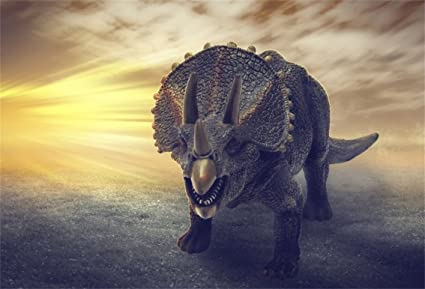 CSFOTO 5x3ft Background for Triceratops Dinosaurs Jurassic Period Photography Backdrop Closeup Dangerous Fiercely 3D Prehistoric Animals