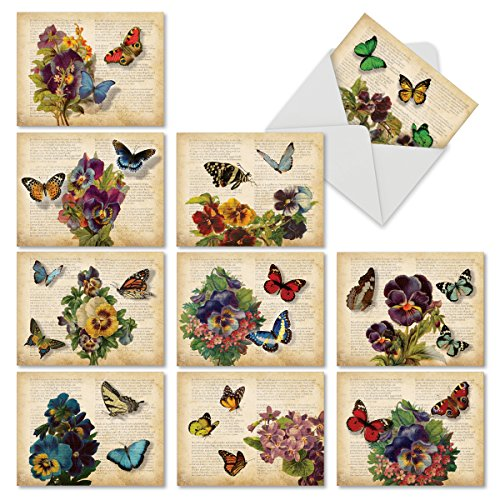 Pansy Note Card - 10 Note Cards (with Envelopes) - Assorted 'Fluttering Words' Blank Greeting Cards - Perfect All-Occasion Cards for Birthday, Mother's Day, Thank You - Stationery Notecards (4