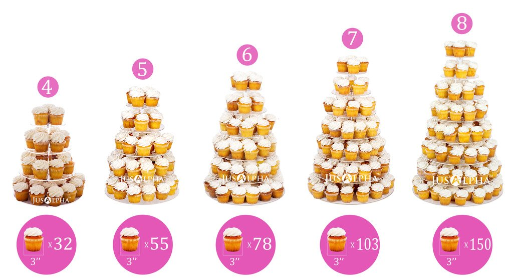 Amazon.com | 4 Tier Round Wedding Acrylic Cupcake Stand Tree Tower ...