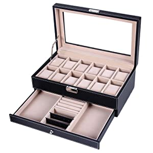 Songmics Watch Storage Box Case Display Tray 12 Watches drawer JWB012