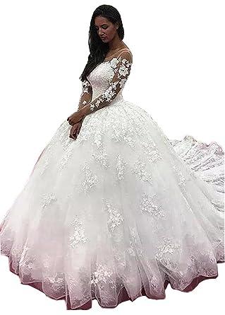 Tsbridal Lace Ball Gown Wedding Dress 2018 Long Sleeves Wedding ...