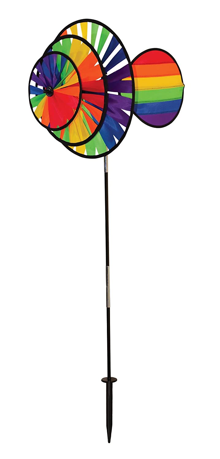 In the Breeze 2766 Rainbow Triple Wheel Spinner with Wind Sail, Small