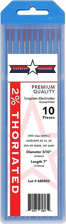 "10-pk TIG Welding Tungsten Electrode 2/% Lanthanated Blue 5//32/""x7/"" US Seller Fast"