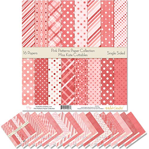 Pattern Paper Pack - Pink Patterns - Scrapbook Premium Specialty Paper Single-Sided 12x12 Collection Includes 16 Sheets - by Miss Kate Cuttables