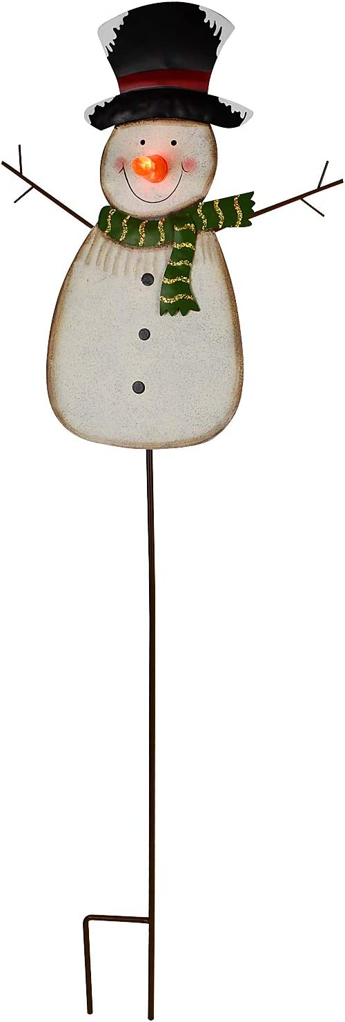 """Kilipes Snowman Garden Stake with LED Light Nose Rustic Metal Snowman Yard Stake Christmas Outdoor Holiday Yard Decoration (37"""" a)"""