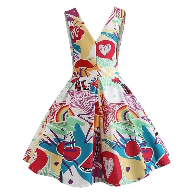Vestidos AñOs 50 Vintage Vestido De Cuello En V Con Estampado Sin Manga Vestidos De Fiesta
