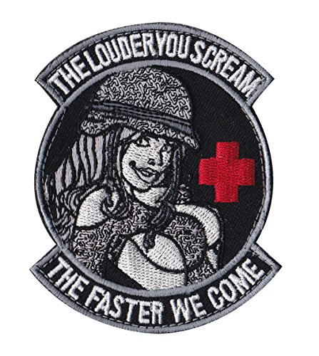 medic-pinup-louder-scream-faster-we-come-tactical-morale-velcro-patch-pv00216-33