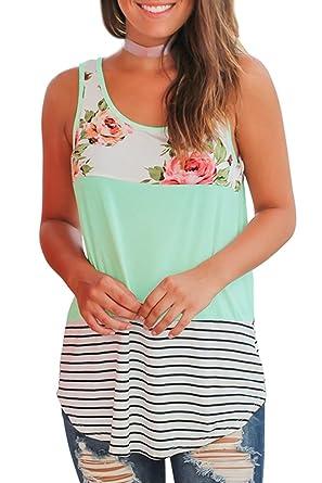 b98ce3a7a24a64 Women Tops Sleeveless Long Tank Top for Leggings Color Block Stripe T Shirts  Green S