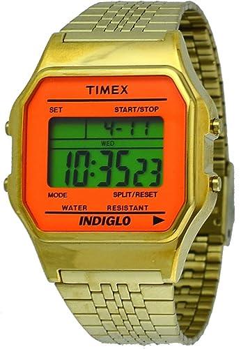 Timex Indiglo de la # tw2p65100 Mujeres Vintage Oro Tono Metal Banda Reloj Digital: Amazon.es: Relojes