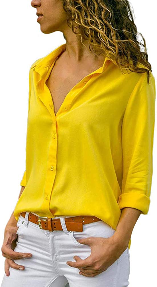 Decai Donna Camicia Bluse Chiffon Collo a V Bluse Manica Lunga OL Camicia Botton Down Taglia Casual Loose Top Camicetta