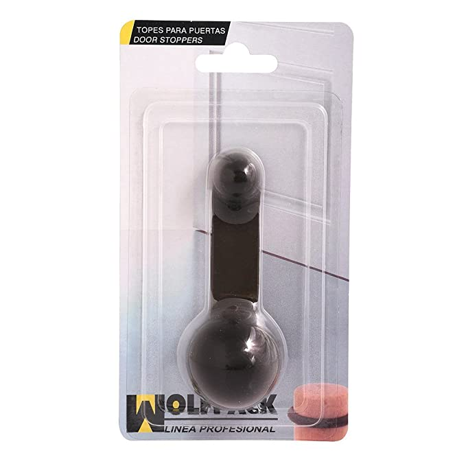 WOLFPACK Tope Puerta Adhesivo con retenedor marrón, 18x10x3 cm ...