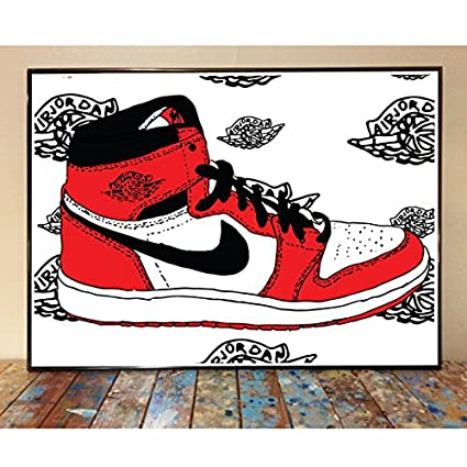 hot sale online aab1d fba8f Image Unavailable. Image not available for. Color  Air Jordan 1 Chicago Art  Print