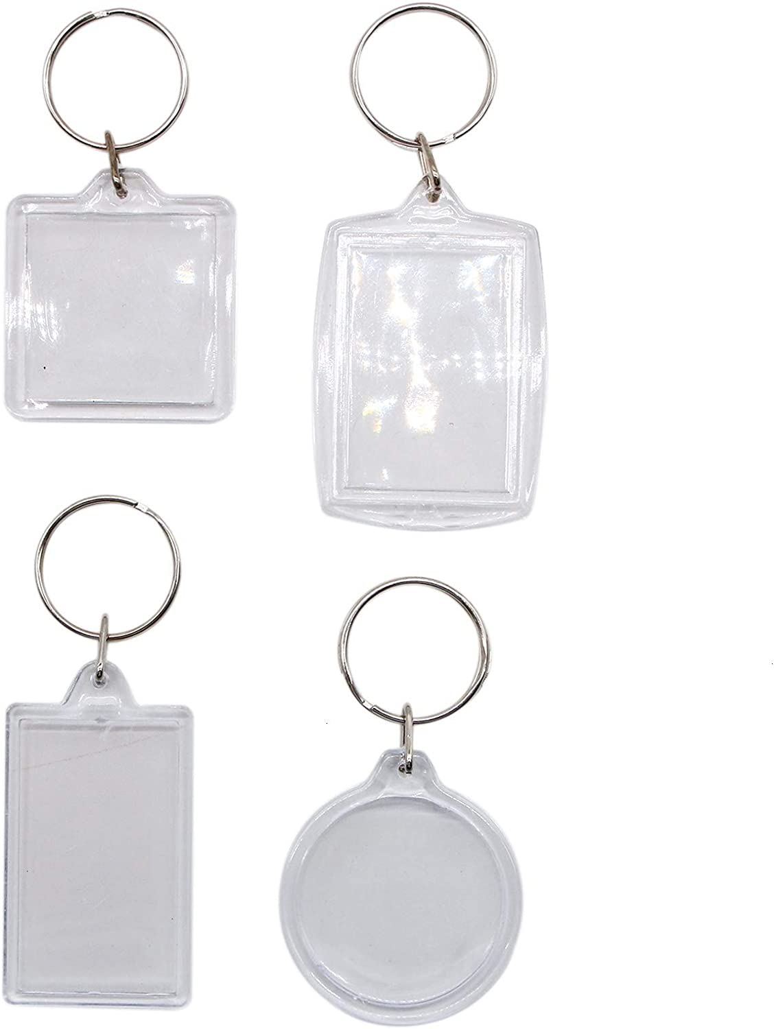 WSSROGY Set of 20 Clear Acrylic Picture Frame Photo Keychains Blank Keyring Keychain for Wallet Size Custom Personalised Insert Photo