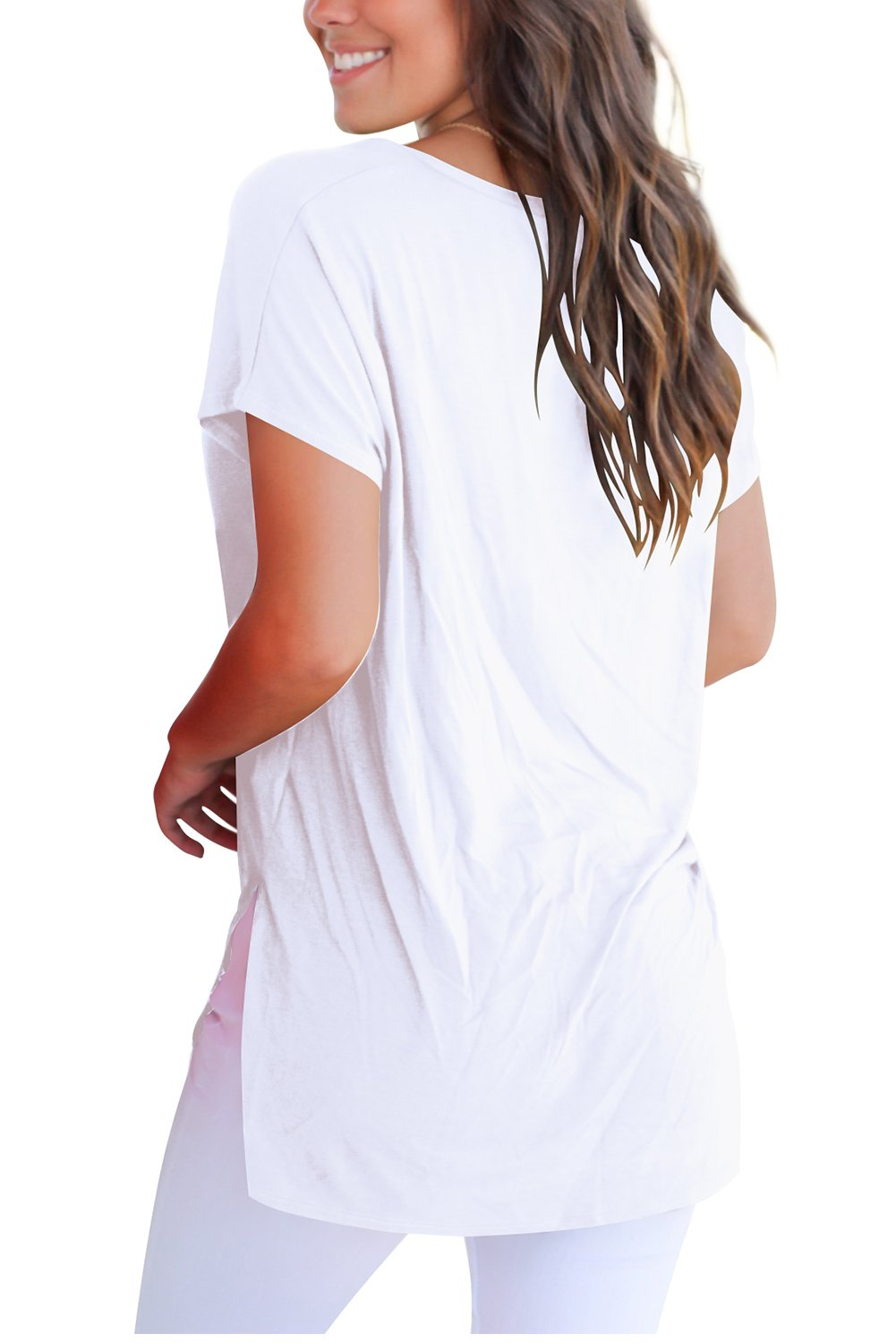FAVALIVE T Shirts for Women Short Sleeve Shirts and Blouses V Neck Tee Tops White XL by FAVALIVE (Image #3)