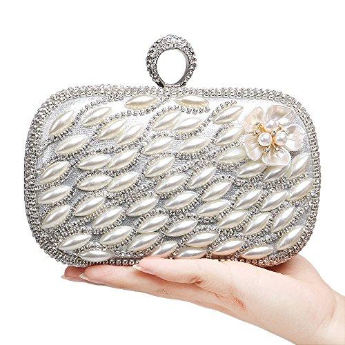 sac RAPIDLY Womens à sac à Bag Clutch main main Pearl Silver Evening Fashion Uqf1qxt