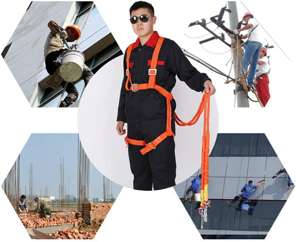 kesoto Full Body Safety Harness Tool Fall Protection Waist Belt with 2m Lanyard Universal Personal Protective Equipment