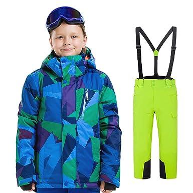 Outburst Jungen Skianzug grün kariert 116-176 Schneeanzug Skijacke Skihose