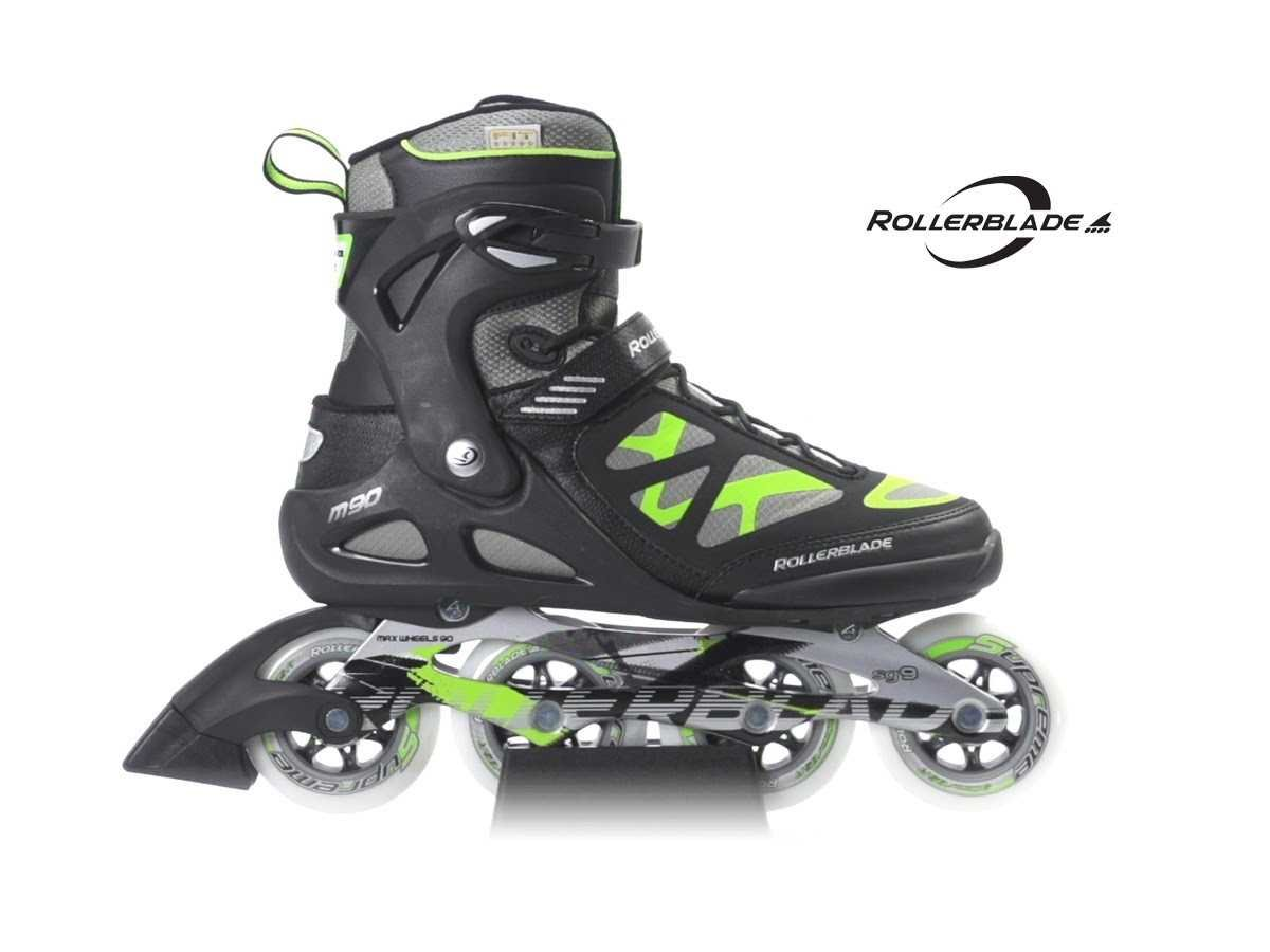 Rollerblade Men's Macroblade 90 Skate, Black/Green, 7.5
