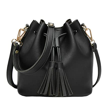 Womens Crossbody Bag Grils Fashion PU Leather Tassel Small Travel Purse  Shoulder Tote Handbag Black ffb99457f6