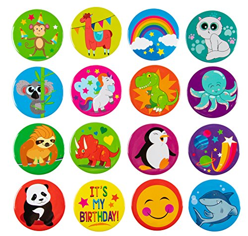 (Pinback Buttons - 16-Pack Birthday Animals Round Button Pins for Kids Birthday Party Favors, 16 Designs, 2.25 inches Diameter )