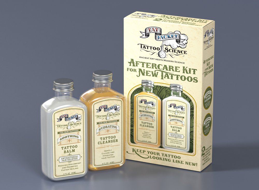 Tattoo Science by Tatjacket Total Tattoo Immediate Aftercare Kit, Hydrating Cleanser and Soothing Balm