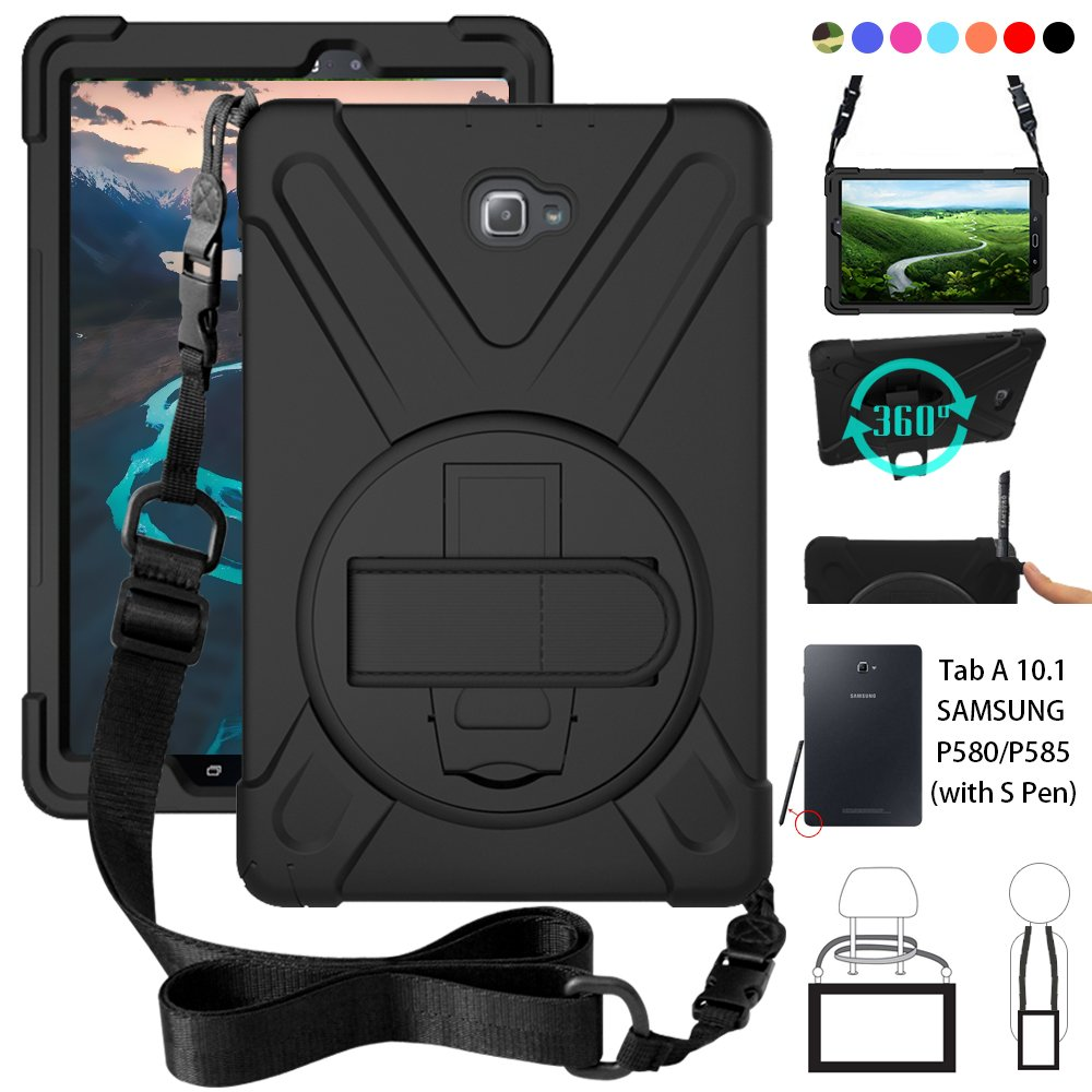 P580 Case, Galaxy Tab A 10.1 (with S Pen) Case, Shockproof High Impact Resistant Heavy Duty Armor Cover with Hands Strap Shoulder Belt for Samsung Galaxy Tab A 10.1 P580 P585 (S Pen Version),Black