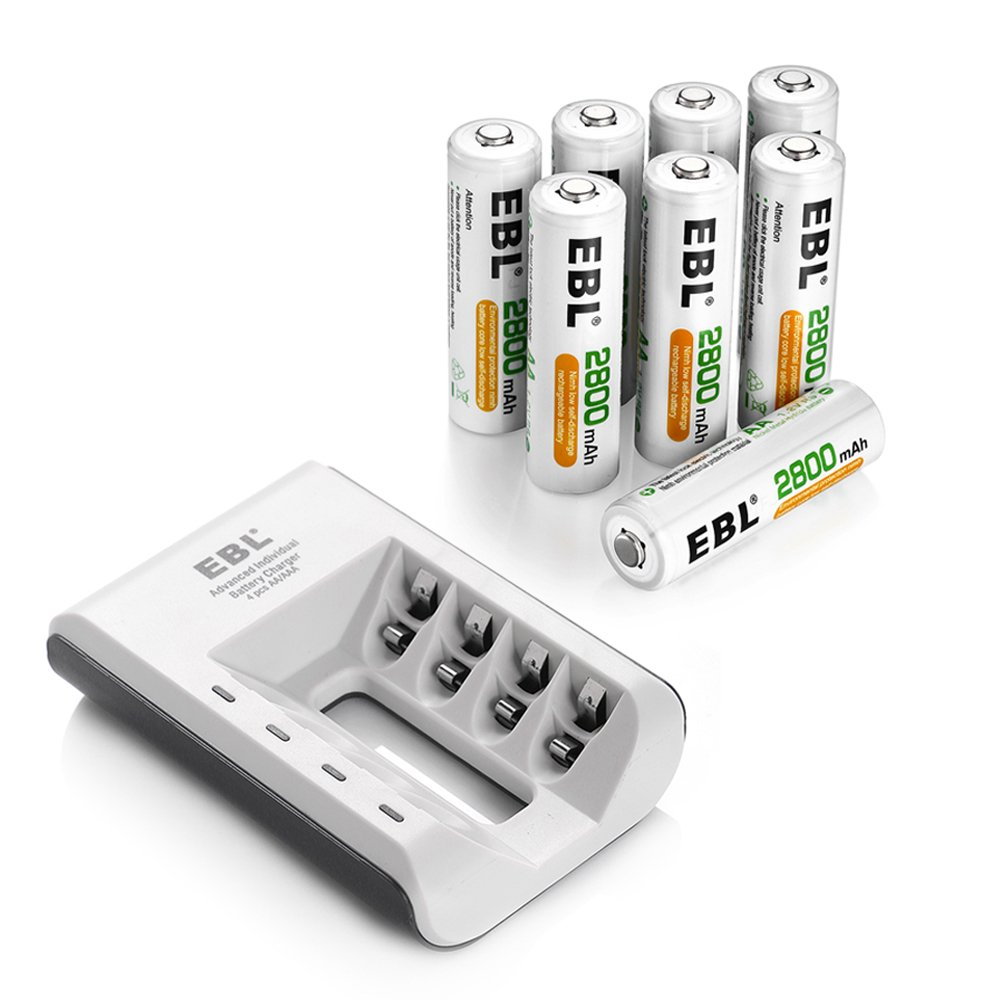 EBL Pack of 8 AA Rechargeable Batteries with Individual AA AAA Battery Charger by EBL