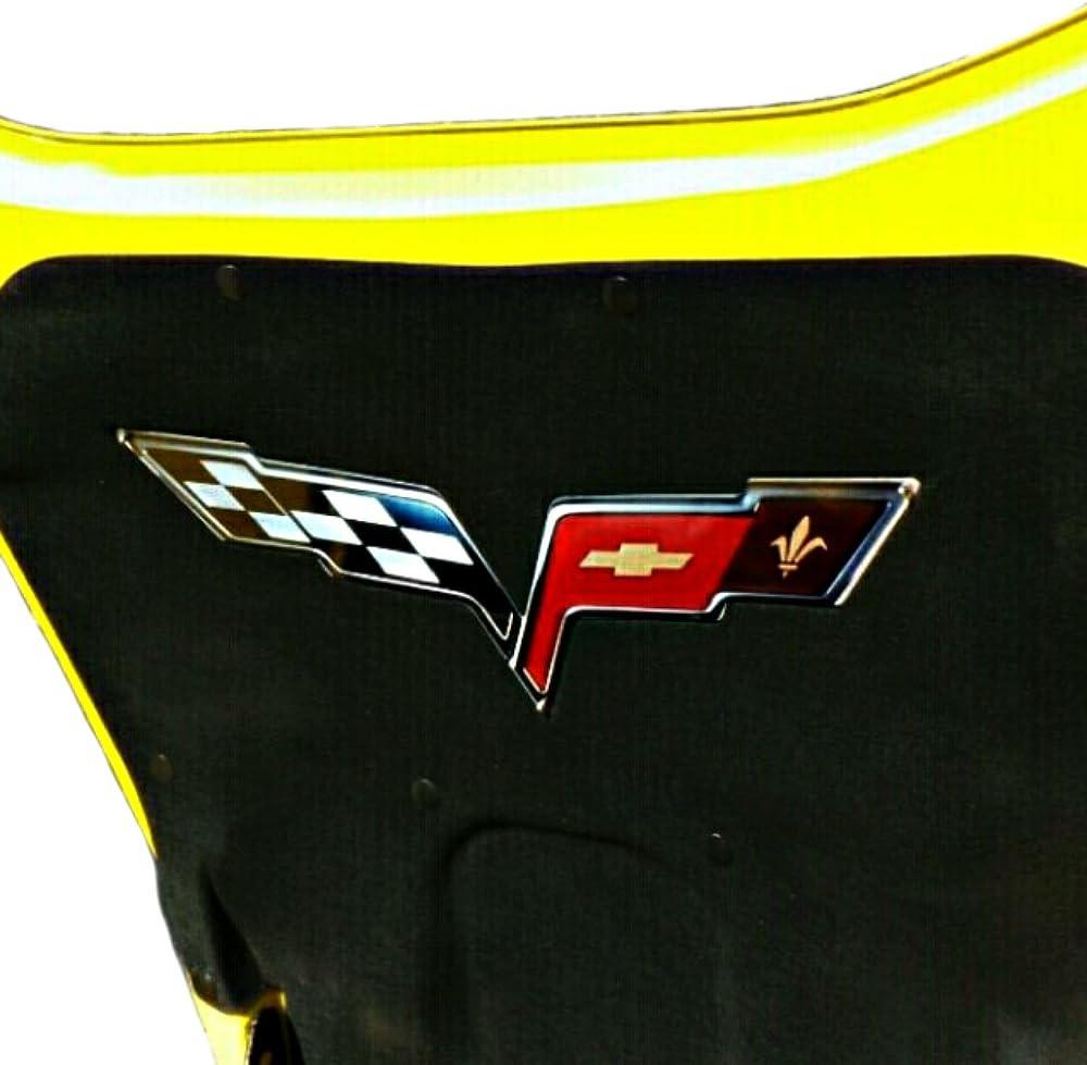 C6 Corvette Crossed flag Metal Underhood Emblem Fits: All 2005 through 2013 Corvettes Except the ZR1