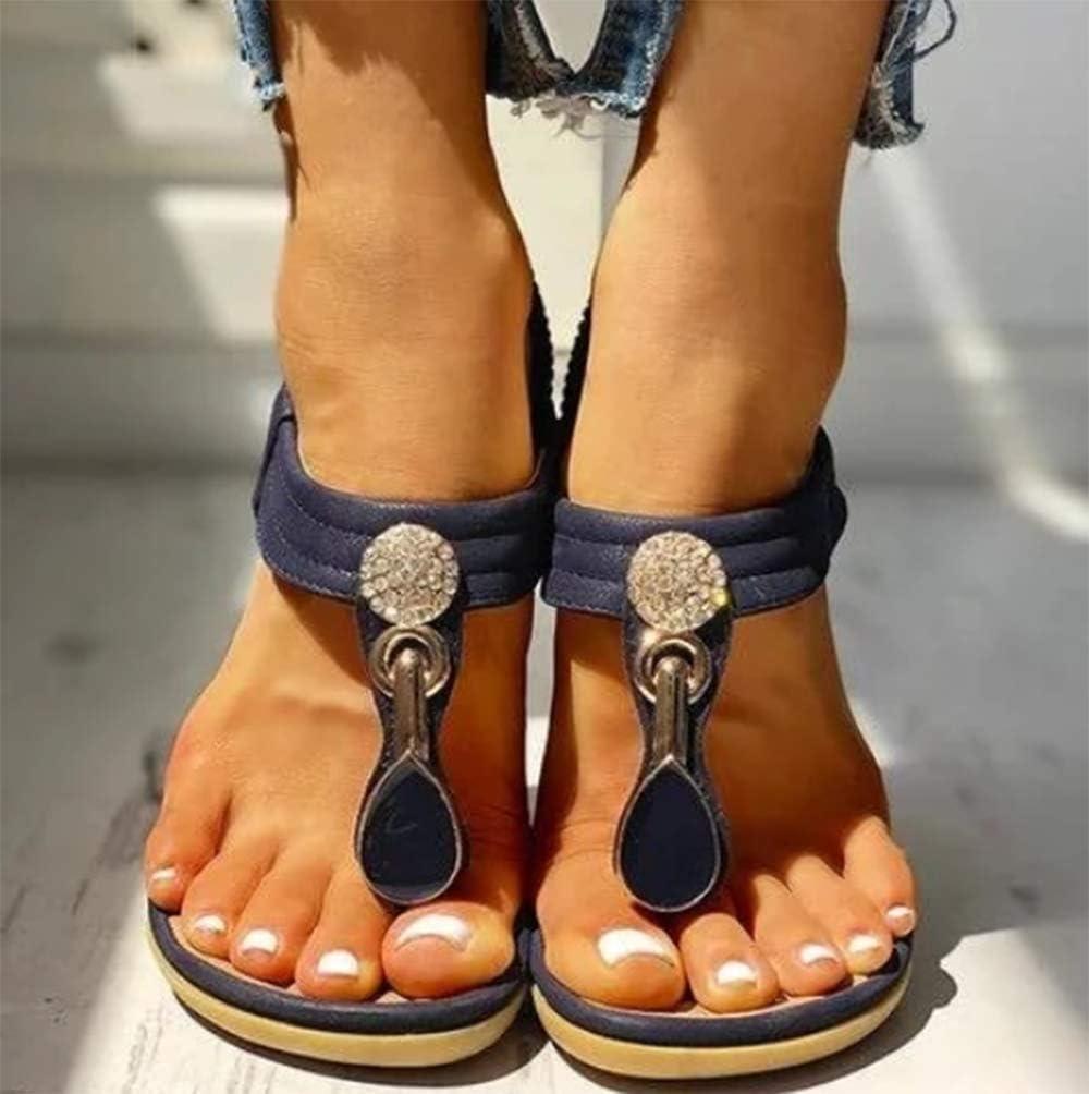 Donna Piatti Sandali Tacco Bassi Open Toe Sandali Eleganti Gioiello Casual Strass Elastico Anti Scivolo Sandali Blue