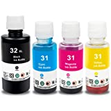 Topcolor Compatible Dye Ink Bottle Replacement for HP 31 32XL Work for HP Smart-Tank Plus 551 651 Wireless All-in-One…