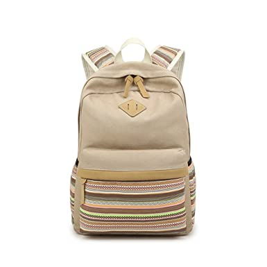1f1646dfd0 Saumota Unique Ethnic Style Canvas School Bags Bookbags Travel Backpack- Khaki