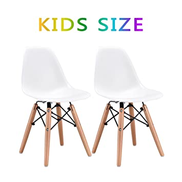 Costzon Set Of 2 Kids Dining Chair, Modern Molded Shell Chair With Dowel  Wood Eiffel