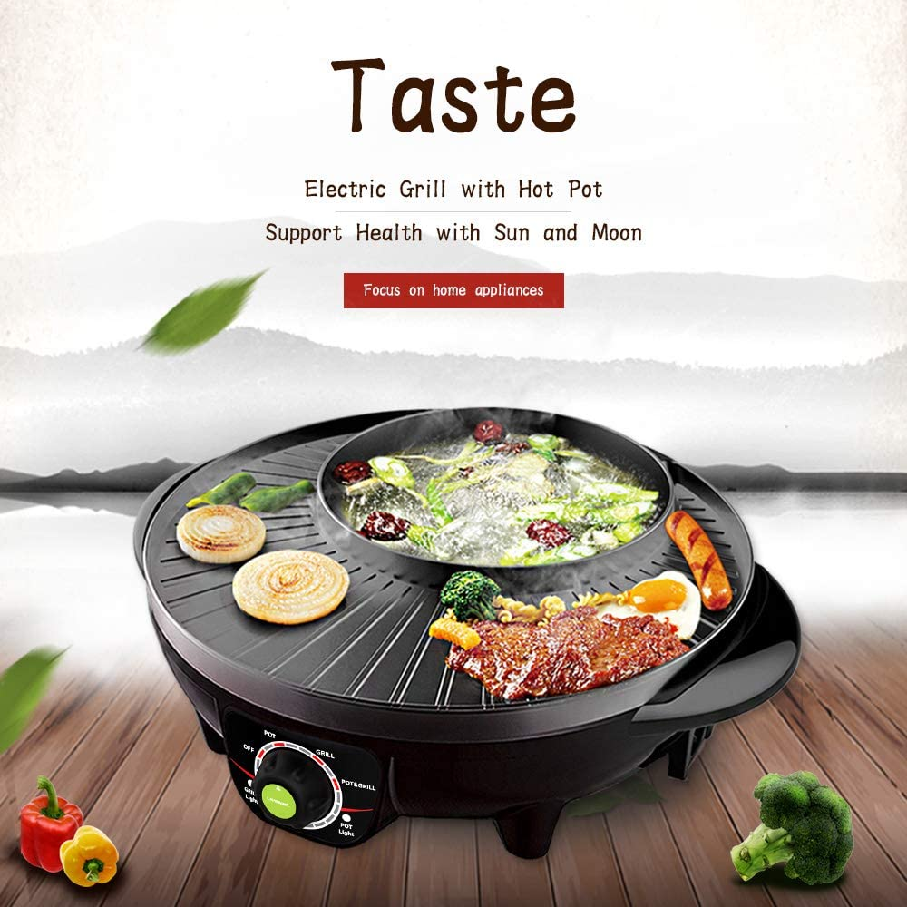 LIVEN Electric Grill with Hot Pot, Non-stick coating surface, Hot Pot with Glass Lid,1300W 120V SK-J3201