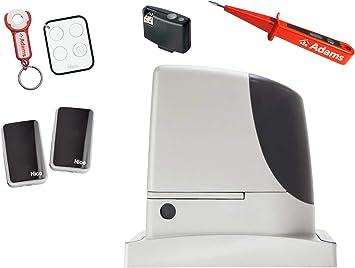 Nice RUN 2500 KIT - Motor para puerta corredera (2500 kg, 1 emisor manual ON3EBD con ADAMS colgante + barreras de luz EPMB Set 4 en 1 + comprobador de corriente Adams: Amazon.es: Bricolaje y herramientas