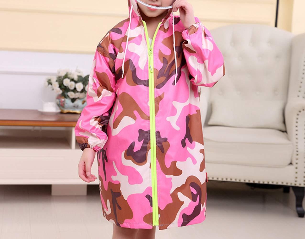 Rose XL voitureicature imperméable for Enfants Camouflage Rose Poncho avec Poncho en bit de voituretable Manteaux de sécurité
