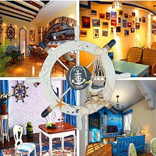 "WINOMO Ship Wheel Wall Decor, 11\"" Pirate Boat Ship Wheel Nautical Home Decoration"