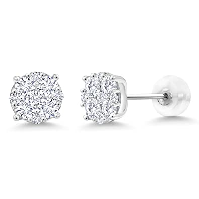 0.62 CT Round Cut Solitaire 10K White Gold Over Women/'s Stud Earrings
