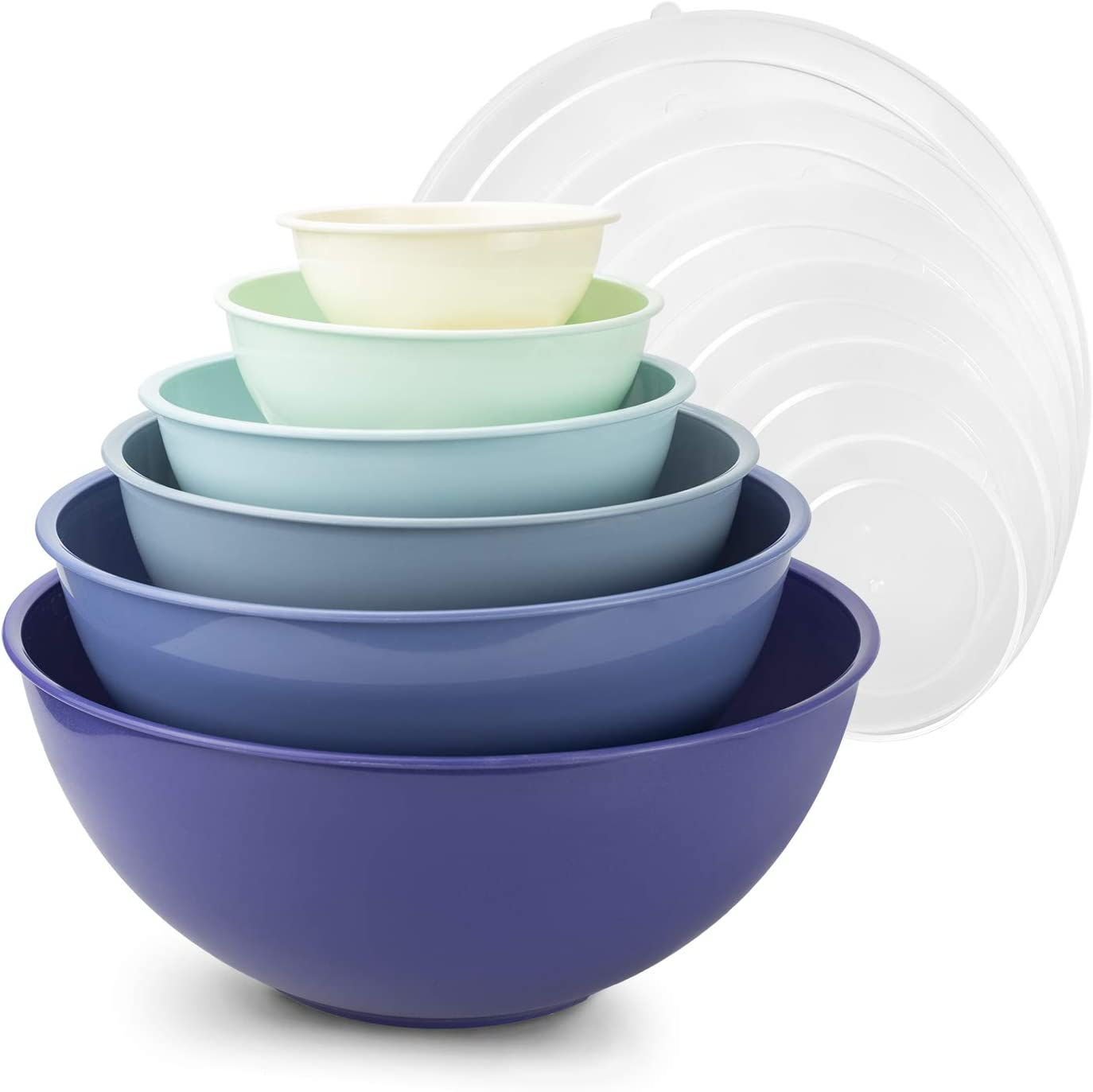 Cook with Color Plastic Mixing Bowls with Lids - 12 Piece Nesting Bowls Set includes 6 Prep Bowls and 6 Lids, Microwave Safe Mixing Bowl Set (Blue Ombre)