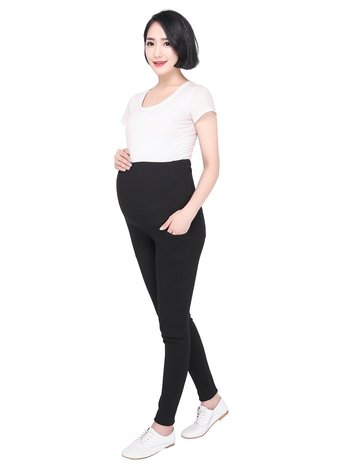 FINEMORE Women Maternity Pants Lounge Over Bump Pregnancy Support Leggings (Bootleg/Solid/Stripe) for Expecting Mom Black XL
