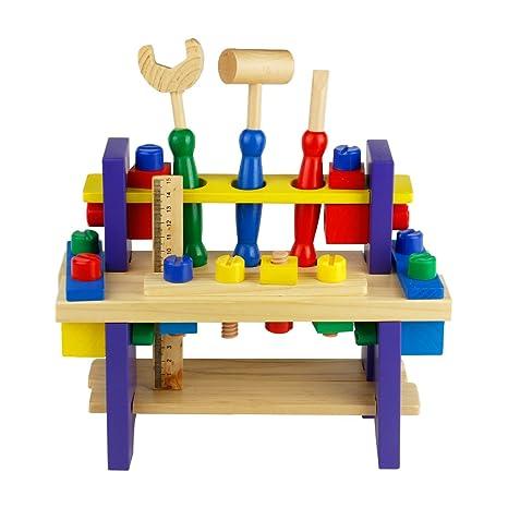 a7a59ee57bbb0c Nuheby Kit Attrezzi per Bambini 42 PCS Cassetta Attrezzi in Legno da Lavoro Giochi  per Bambini