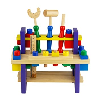 Wooden Toys Toy Workbench Kids Workbench Wooden Tool Kit Diy Workbench For Kids With Toy Hammer Spanner Preschool Toys For 3 4 5 Years Old Toddlers